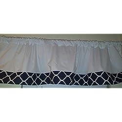 """Valance Navy Blue & white Trellis Window curtain / Kitchen, Bath, Laundry, Camper, RV, basement, kids playrooms, daycare schools, Kitchen , dinning, dorm, qua trefoil midnight indigo Moroccan 57"""" wide"""