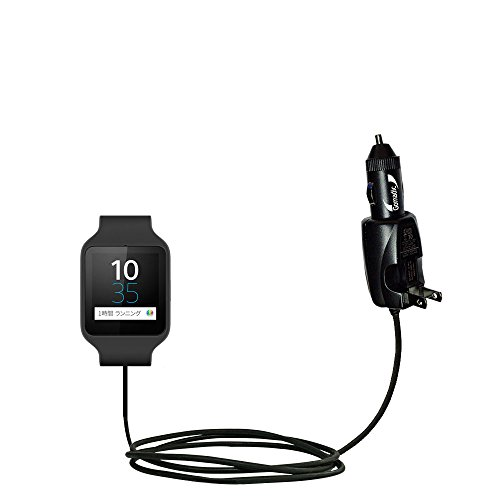 Price comparison product image Advanced Gomadic 2 in 1 Auto / Car DC Charger Compatible with Sony SWR50 with Foldable Wall AC Charging plug – Amazing design built with TipExchange Technology