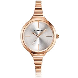 ETEVON Women's Quartz Rose Gold Bracelet Watch with High-end Stainless Steel Case, Elegant Luxury Gold-Tone Dress Wrist Watches for Ladies