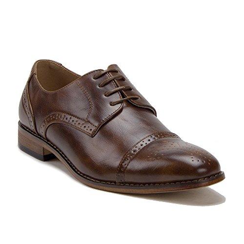(J'aime Aldo Men's UV020A Semi-Brogue Perforated Cap Toe Dress Oxfords Shoess, Brown, 12)