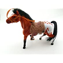 """8"""" Brown Appaloosa Flocked Horse With Saddle Pretend Play Figure"""