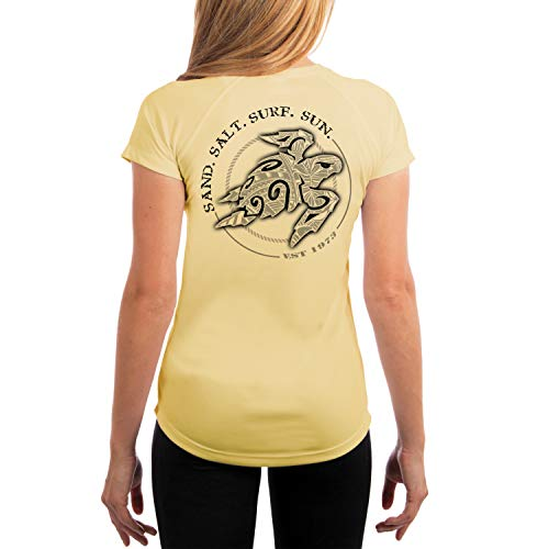 (SAND.SALT.SURF.SUN. Polynesian Sea Turtle Women's UPF 50+ Short Sleeve T-Shirt X-Small Pale Yellow)