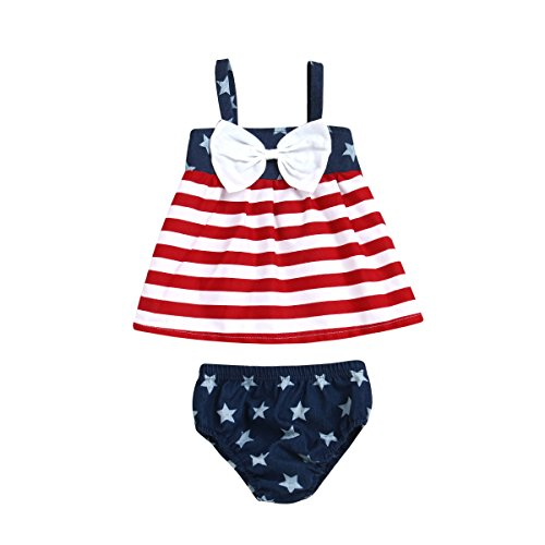 Flag Red Top White Bottom - Toddler Baby Girl American Flag Clothes 4th of July Straps Top Sleeveless Bottom Outfits Red White