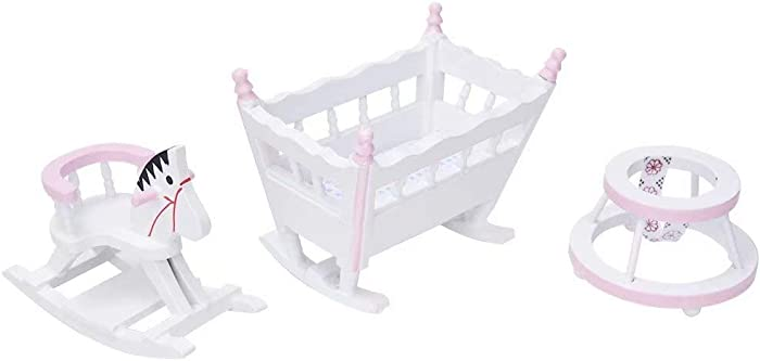 iLAZ 1:12 Scale Dollhouse Furniture Miniature Nursery Furniture (3 Pcs) - Crib, Rocking Horse, Baby Learning Walker for Doll House, Accessory Kids Pretend Toy, Creative Birthday Handcraft Gift