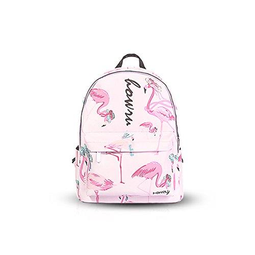Nicole & Doris New Canvas Backpack Bag Backpack Durable Top Handle Bag Light Pink Informal School For Girls L