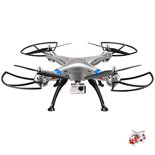 Syma X8G Headless 2.4Ghz 4CH RC Quadcopter with 8MP HD Camera (Silver) by GoolRC