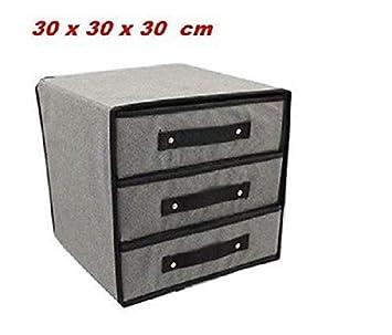 takestop Porta Objetos cajonera Tela 3 cajones 30 x 30 x 30 cm Caja Plegable Espacio Almacenamiento organizzer Color Aleatorio