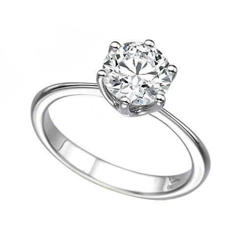 8.50MM Forever One D-F VS Moissanite Engagement Ring (1.9 ct, 2.20 ct dew) Classic 6 prongs 14K Gold