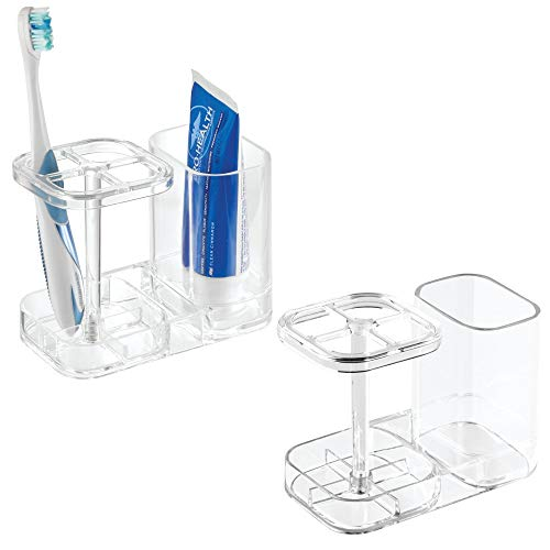 mDesign Bathroom Dental Holder and Organizer for Toothbrushes, Toothpaste u2013 Pack of 2, Clear