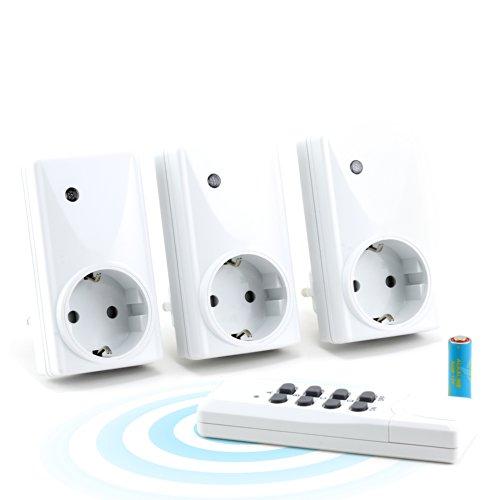 HEITECH - Funksteckdosen-Set (3+1) für den Innenbereich (Indoor)- inklusive 1x Fernbedienung für max. 4 Steckdosen - IP20-Norm für Innenbereich - LED-Funktionsanzeige - Kindersicherung - maximale Funkreichweite: ca. 25m