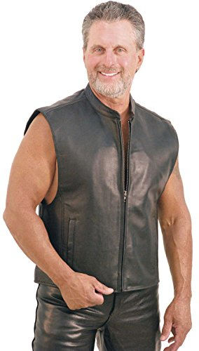 Jamin' Leather Front Zip Leather Vest w/Full Back for Patches (3XL) (Mens Zip Front Leather)