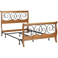 Dunhill Complete Bed with Wood Sleigh Style Frame and Autumn Brown Metal Swirling Scrolls, Honey Oak Finish, Queen