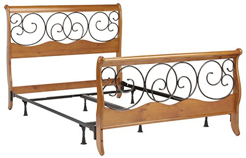 Full Metal Sleigh Bed - Fashion Bed Group Dunhill Complete Wood Bed and Steel Support Frame with Sleigh Style Panels and Metal Autumn Brown Swirling Scrolls, Honey Oak Finish, Queen
