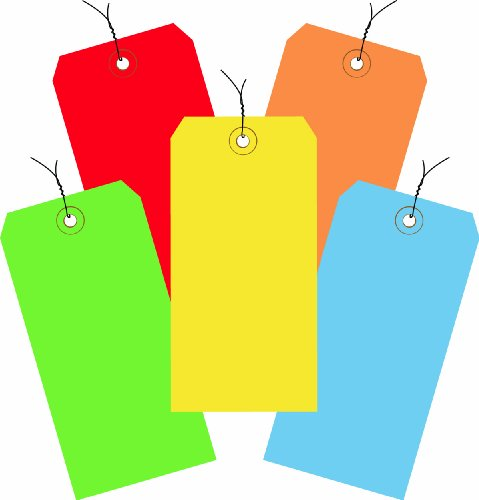 (Aviditi G20003 Assorted Color 13 Point Shipping Tags Pre-Wired, 4 3/4