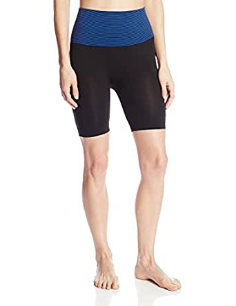 2LUV Active Women's Contrast Banded Waist Yoga Shorts Blue OS