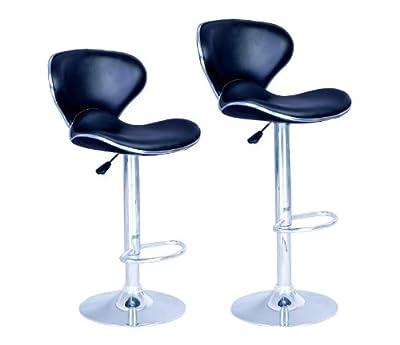 Eight24hours SET of 2 Bar Stools Black PU Leather Modern Hydraulic Swivel Dinning Chair
