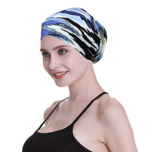 Sleeping Cap,Satin Silk Liner Long Hair Women Braids Soft Bamboo Viscose Blue ()