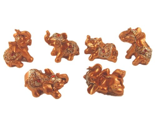 6 Mini Golden Color Feng Shui Lucky Elephants Statues Figurine Home Decor (with betterdecor gift (Golden Set Figurine)