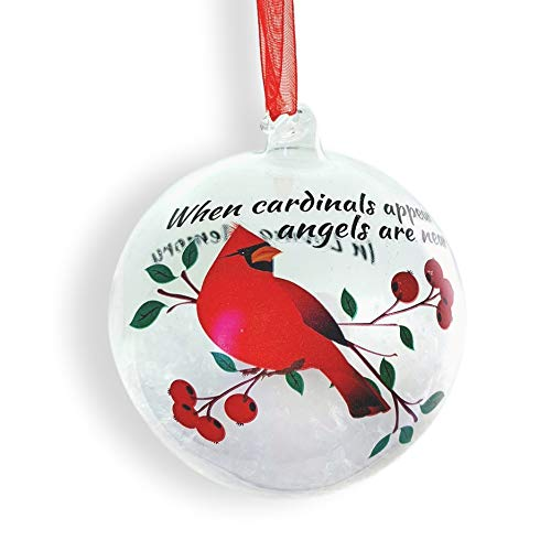 Cardinal Christmas Ornament (Memorial Cardinal Christmas Ornament - LED Lighted Glass Ball Ornament with Cardinal Design - When Cardinals Appear Angels are Near - In Loving)