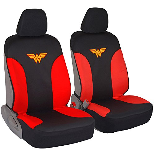 DC Comics Wonder Woman Car Seat Covers - 100% Waterproof Front Pair (Car Accessories Wonder Women)