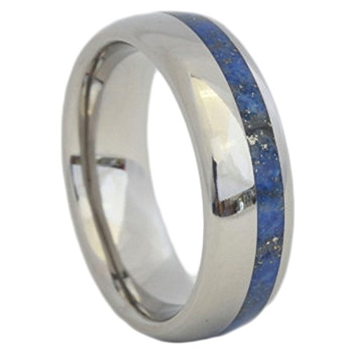 The Men's Jewelry Store (Unisex Jewelry) Lapis Lazuli Inlay 6mm Comfort Fit Titanium Wedding Band, Size 12.75