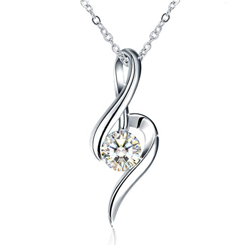 J.Rosée Necklaces, Pendant Necklace with 925 Sterling Silver and 3A Cubic Zirconia, 18