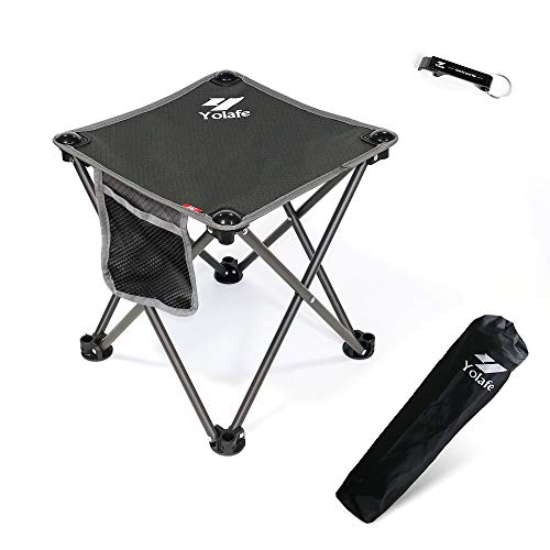 Portable Camping Stool, Folding Chair for Camping Fishing Hiking Gardening and Beach, Grey Seat with Carry Bag ()