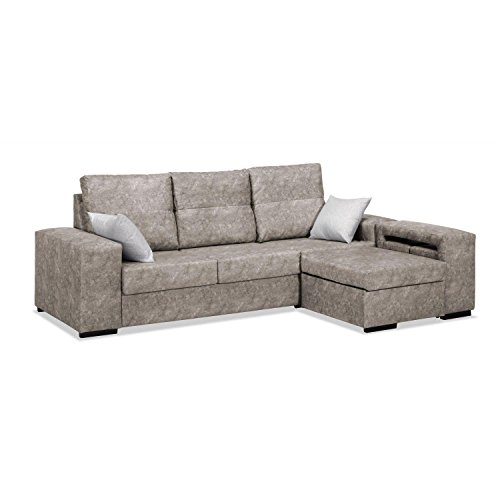 Mueble Sofa con Chaise Longue y Arcon abatible 3 plazas color Beige cheslong SUBIDA A DOMICILIO
