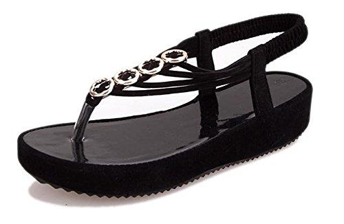 Fortuning's JDS Elegante flip plataforma de moda sandalias de los fracasos de verano para las mujeres negro