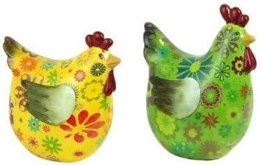 Art Deco Figura Decorativa x2 Gallina Resina Colores 12 cm Figuras para Jardin Animales: Amazon.es: Hogar
