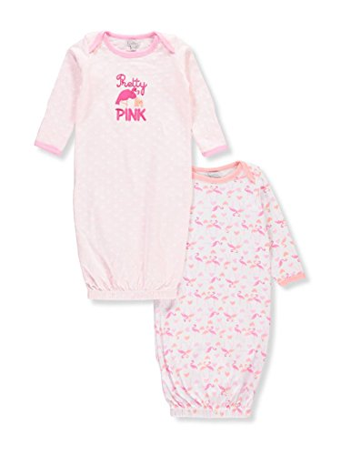 Quiltex Baby Girls' 2-Pack Sleep Gowns - Pink/Multi, 3-6 Months -
