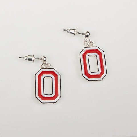 Seasons Jewelry Ohio State Enamel Logo Earrings