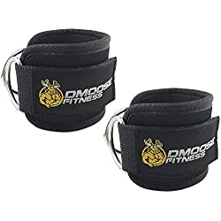 DMoose Fitness Ankle Straps for Cable Machines (Single) - Stainless Steel Double D-Ring, Adjustable Comfort fit Neoprene, Glute & Leg Workouts - For Men & Women