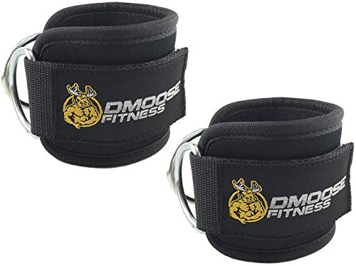 DMoose Fitness Ankle Straps for Cable Machines (Pair) - Stainless Steel Double D-Ring, Adjustable Comfort fit Neoprene, Glute & Leg Workouts - for Women & - Foot Attachment