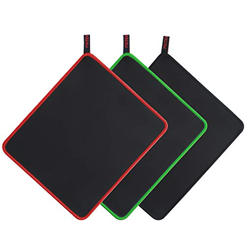 Psitek 10x8.5 Inches Large Gaming Mouse Pad Mousepad,Waterproof Cloth Surface Optimized for Precision, Durable Stitched Anti-Fray Edges Black Red and Green 3 Packs