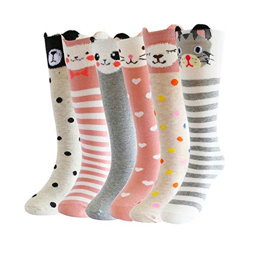 Bestjybt Girls Knee High Socks Cotton Animal Cartoon Pattern 6 Pairs Pack (Animal a) (Pattern Casual Cartoon)