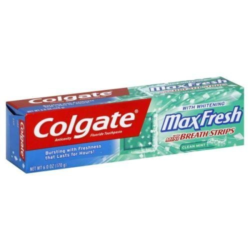 6 Ounce Each Pack (Colgate MaxFresh + Whitening Fluoride Toothpaste with Mini Breath Strips, Clean Mint, 6 Oz each Pack of 6)