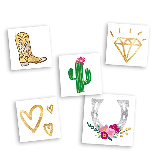 WESTERN WEDDING VARIETY SET includes 25 assorted premium waterproof metallic gold temporary foil party tattoos - party supplies, bride, cowboy boot, western, horseshoe, wedding, bachelorette