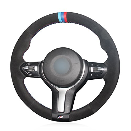 MEWANT Black Suede Blue Dark Blue Red Marker Steering Wheel Covers for BMW F87 M2 2015-2017 F80 M3 F82 M4 2 M5 2014-2017 F12 F13 M6 F85 X5 M F86 X6 M F33 2013-2017 F30 M Sport 2013-2017 ()