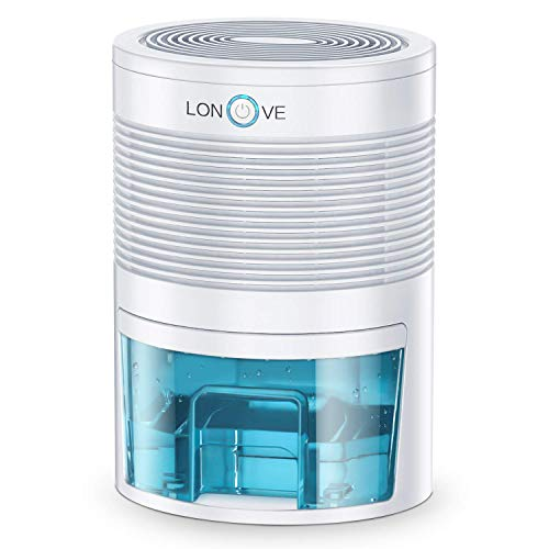 LONOVE Dehumidifier – 800ML Portable Small Dehumidifiers for Home Bathroom Bedroom Basement Closet RV Camper Garage,2000 Cubic Feet Anti-Overflow Electric Mini Dehumidifier for Space Up to 165 Sq.ft
