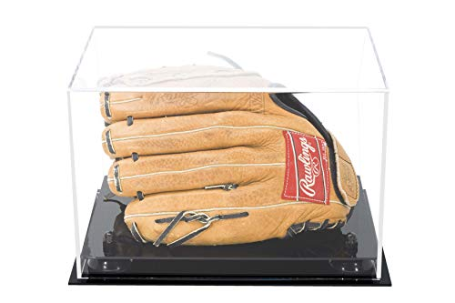 Deluxe Clear Acrylic Baseball Glove Display Case Black Risers (A004-BR) (Glove Box Portable)