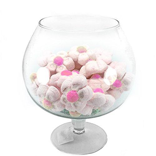 Centrotavola Vaso Ampolla biscottiera per confettata caramellata porta confetti in vetro trasparente (Diametro 9cm H19cm) ad