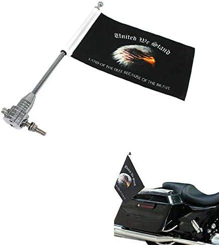 6 x 9 Eagle American Flag for Honda Harley Honda Suzuki Yamaha AUF 1 x Motorcycle Flags with Adjustable Flag Mount Flagpole