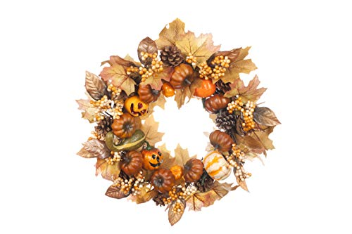 LTWHOME 18 Inch Handmade Halloween Wreath with Pumpkins, Maple Leaves, Pine Cones for Halloween Party Home, Front Door, Wall, Mantelpiece, Window Decoration Part Number WHHW -
