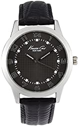 Kenneth Cole New York Men's Gunmetal Grid With Black Leather Strap Watch