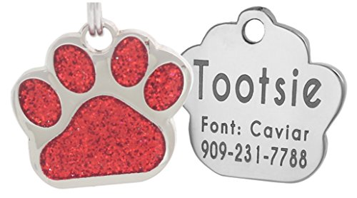 Laser Engraving Glitter Paw Pet ID Tags Custom Personalized for Dog & Cat Paw Print Tag (Red)