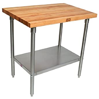 Amazon.com: John Boos mesa de trabajo con mezcla de arce ...