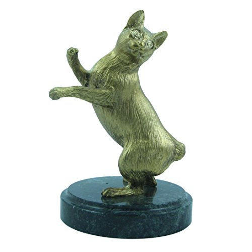 Japanese Bobtail cat Bronze Figurine Handmade Figure on natural Ural rock Original paperweight Super Present and Home Decoration