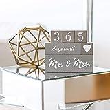 Wedding Countdown Calendar Block Mr and Mrs Luggage