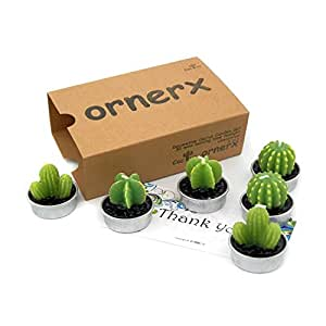 ornerx Decorative Cactus Candles Tea Light Candles 6 Pcs